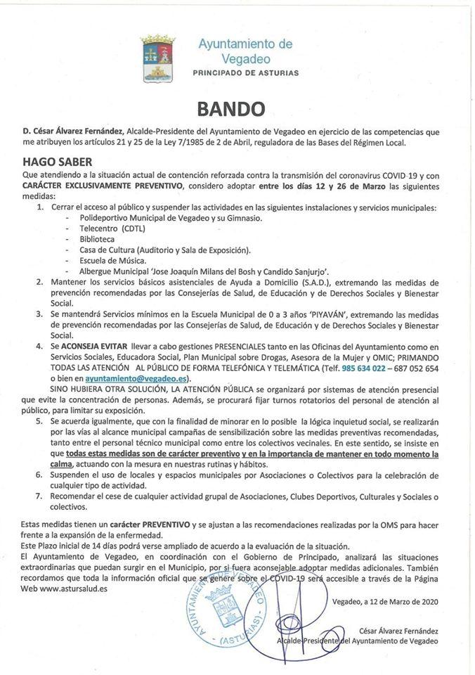 Bando Ayuntamiento Vegadeo 12/03/2020 1