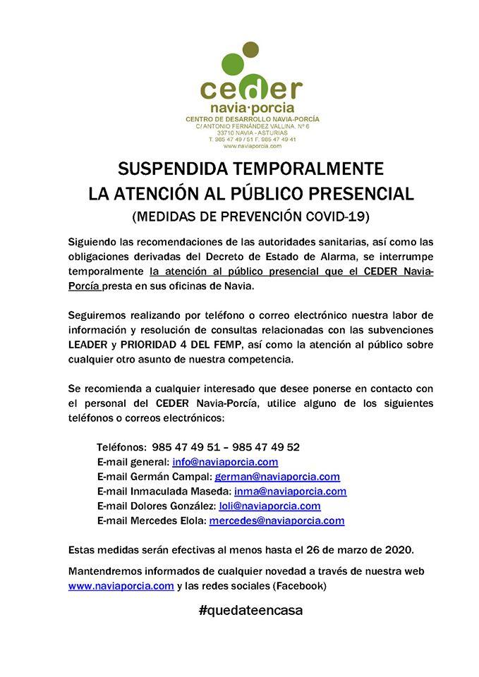 Suspensión atención al público CEDER Navia-Porcía 3
