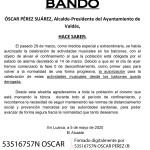 Valdés: Bando derogación actividad musical en los balcones