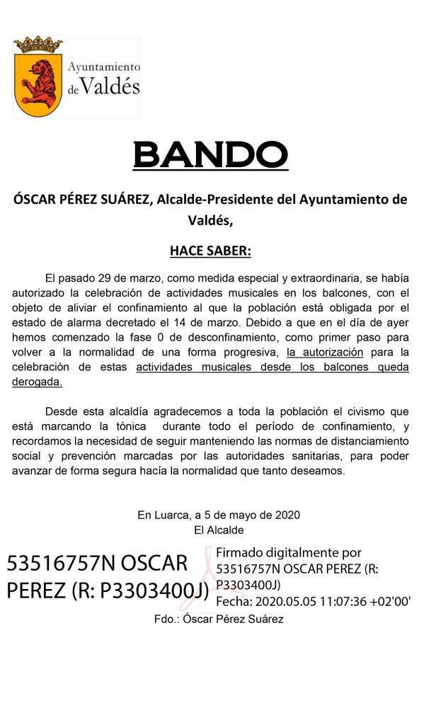 Valdés: Bando derogación actividad musical en los balcones 3