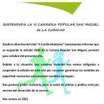 Suspendida la VI Carrera Popular San Miguel de La Caridad