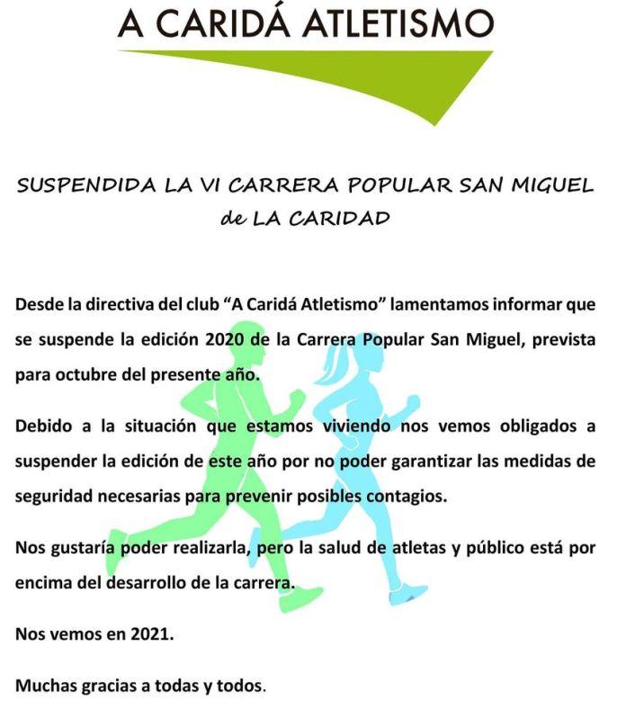 Suspendida la VI Carrera Popular San Miguel de La Caridad 1