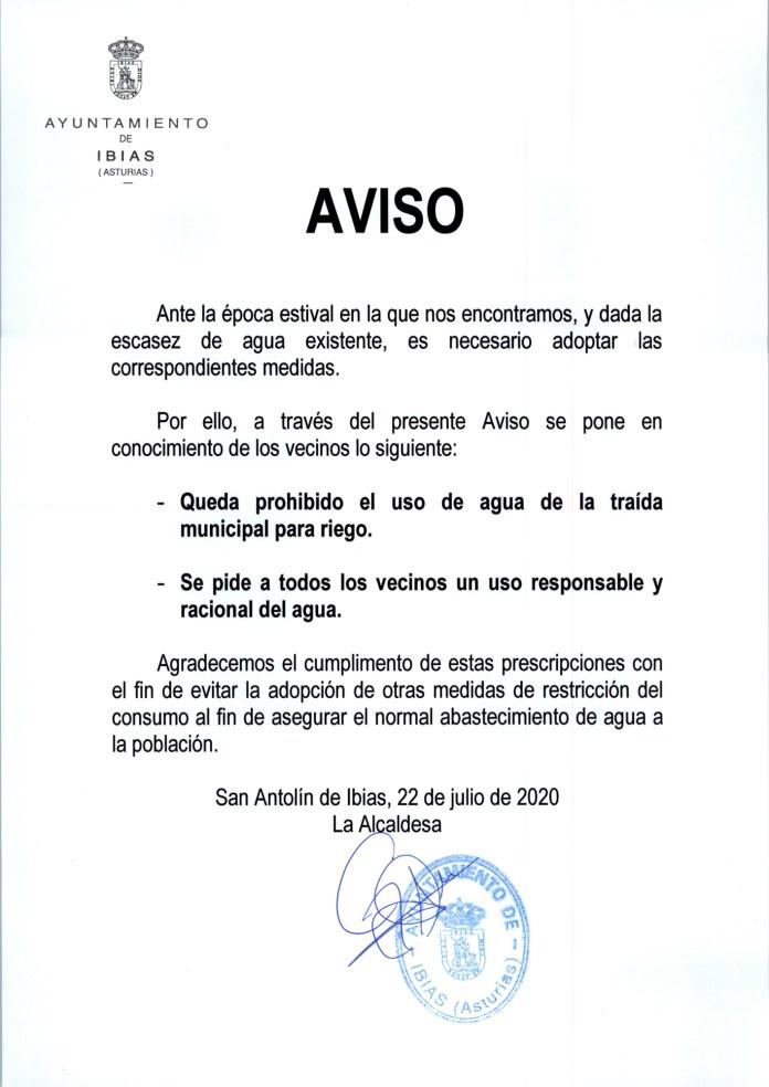 El Ayuntamiento de Ibias pide un uso racional del agua 1