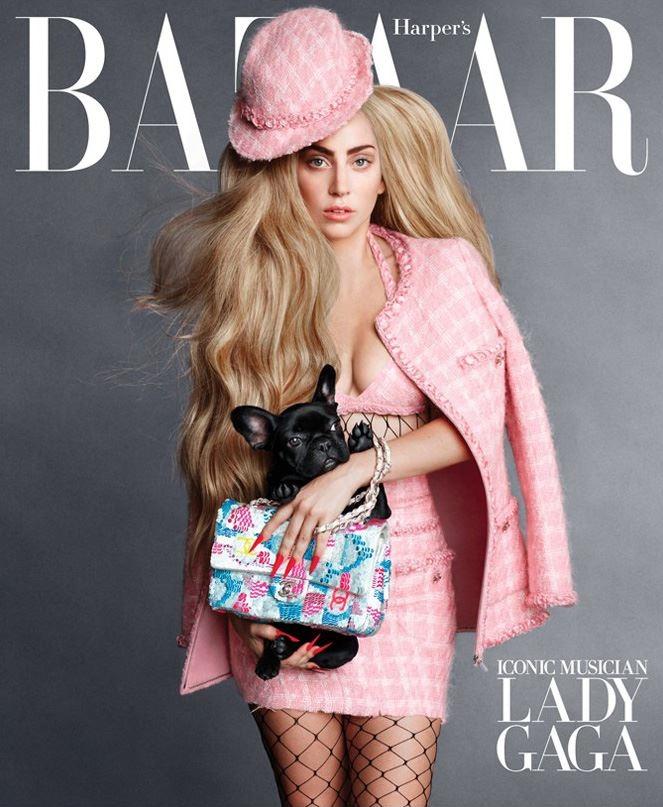harpers-bazaar-september-2014-covers1 Lady Gaga sale en la nueva portada de la revista Harper's Bazaar con su perrita Asia