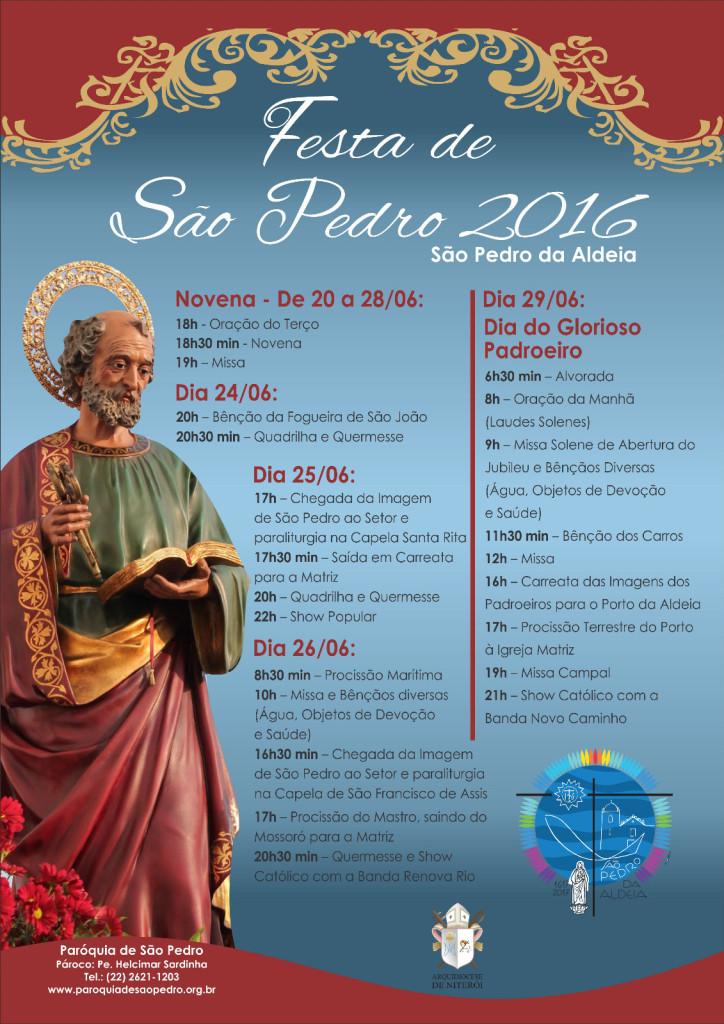 FESTA DE SÃO PEDRO 2016 - Paróquia de São Pedro divulga programação religiosa especial para comemorar o Dia de São Pedro