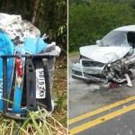 ACIDENTE – Viatura da PM cai em barranco e fica destruída durante acidente na BR-101