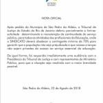 Prefeitura de São Pedro da Aldeia divulga nota sobre a greve dos profissionais da Educação