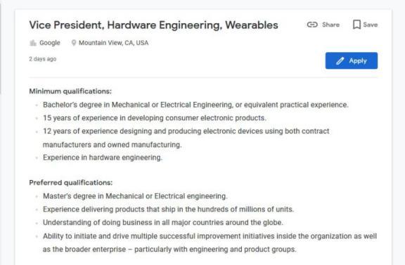 Oferta de emprego Google - Pixel Watch: parece que é desta que a Google cria o seu próprio relógio inteligente