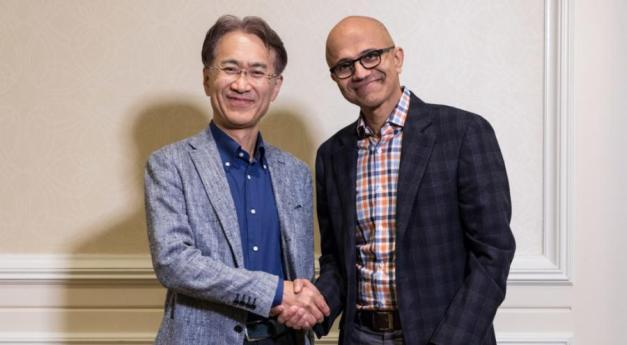 MS Exec NadellaSony CEO Kenichiro Yoshida 013 low res 1024x683 - Playstation apanhada de surpresa com o anúncio da colaboração entre a Microsoft e a Sony
