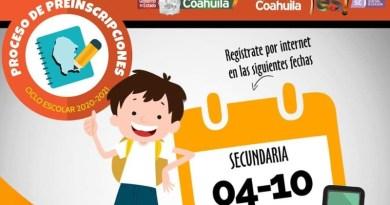 Iniciará en Coahuila proceso de inscripciones para secundaria