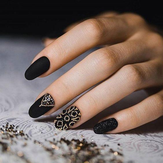 Diseño De Uñas Acrilicas Negras Mate Decoración De Uñas
