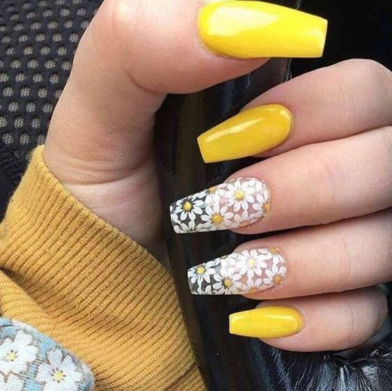 Uñas Acrilicas Amarillas Decorados De Uñas