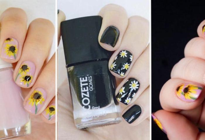 25 Ideas De Diseño De Uñas Con Flores Girasoles