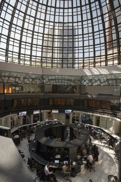 Vista del piso de remates de la Bolsa Mexicana de Valores (BMV) (Getty Images)