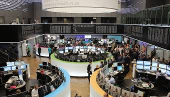 Vista de la Bolsa de valores de Frankfurt, Alemania (Getty Images)
