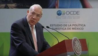 José Ángel Gurría, secretario general de la OCDE, durante la presentación del Estudio de Política Turística de México (Noticieros Televisa)