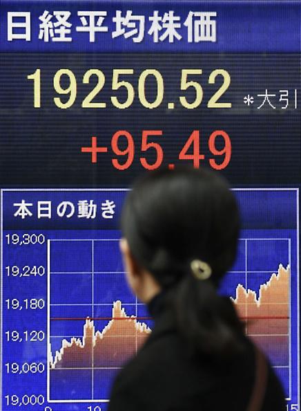 Pantalla de información del Nikkei (Getty Images)