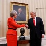Theresa May y Donald Trump durante la visita de la primera ministra británica a la Casa Blanca. (AP, archivo)