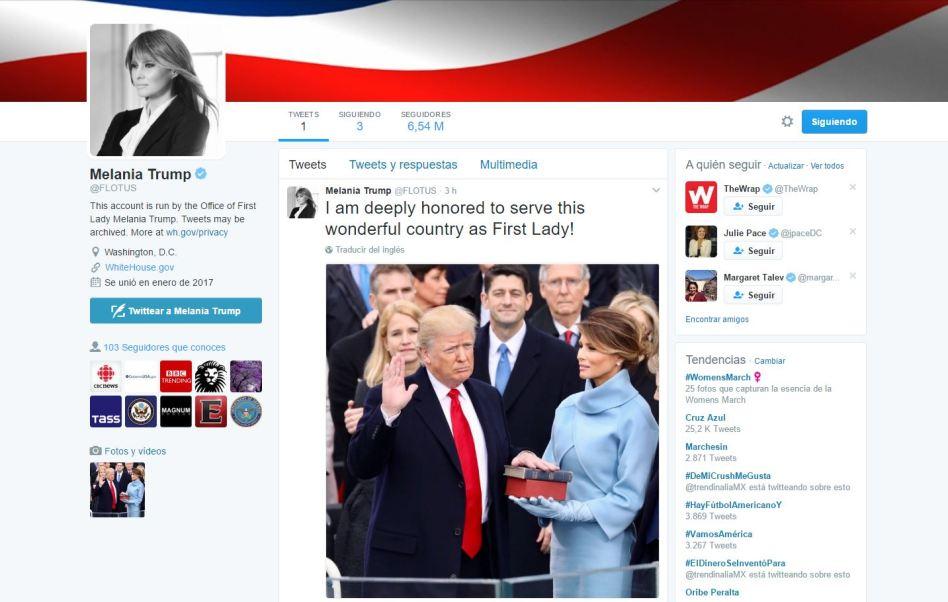 Melania Trump publica su primer mensaje en Twitter como Primera Dama