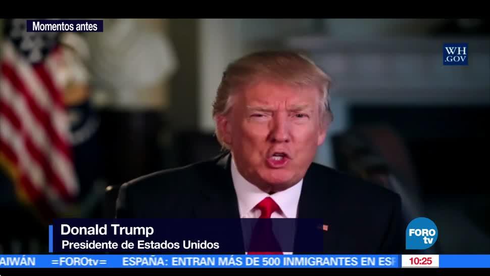 Donald Trump, presidente de Estados Unidos, durante un mensaje a la nación (FOROtv)