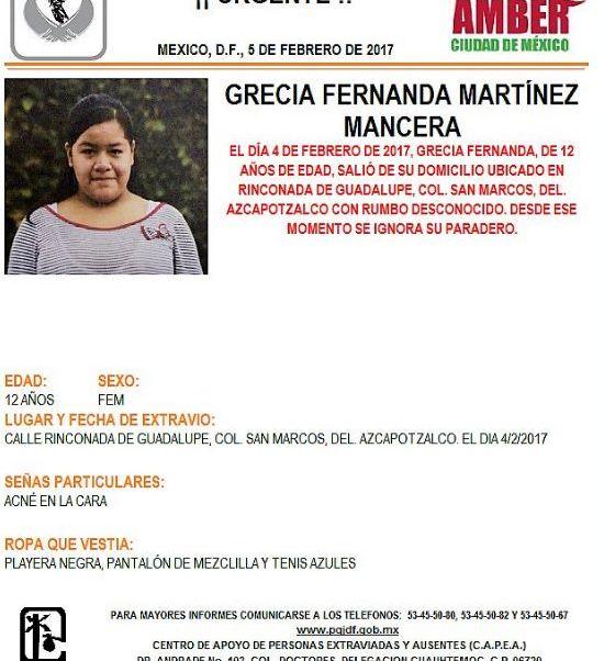 PGJCDMX activa la Alerta Amber para localizar a Grecia Fernanda Martínez Mancera, de 12 años de edad, desaparecida desde el 4 de febrero. (Twitter@PGJDF_CDMX)