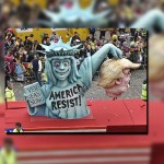 La imagen de Trump y la Estatua de la Libertad luce en uno de los carros alegóricos en el carnaval de Alemania. (AP)