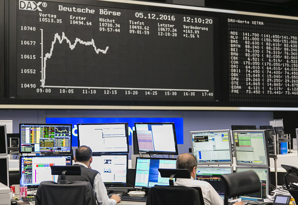 Piso de remates de la Bolsa de Frankfurt (Getty Images)