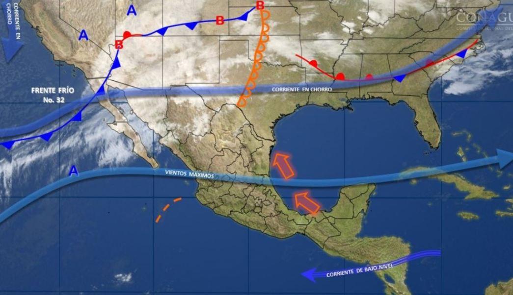 Mapa con el pronóstico del clima para este 28 de febrero; prevén caída de nieve en el noroeste del país. (SMN)