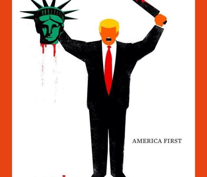 La revista alemana Der Spiegel difundió la portada de su nuevo número, en la que aparece el presidente Donald Trump con la cabeza decapitada de la estatua de la libertad en una mano y un machete ensangrentado en la otra. (@DerSPIEGEL)