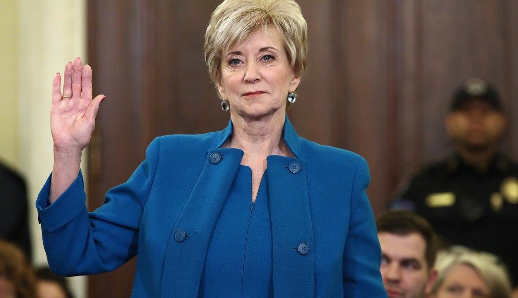 Linda McMahon, empresaria de la lucha libre, y la nueva directora de la Administración de Pequeñas Empresas (SBA) (Getty Images)