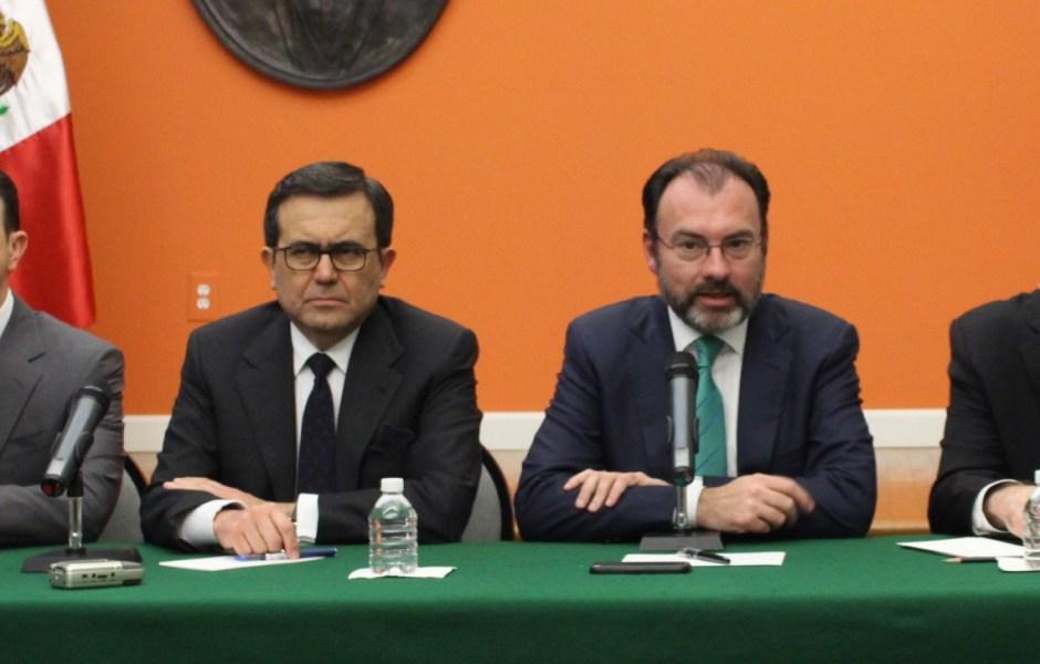 Ildefonso Guajardo Villarreal, secretario de Economía; Luis Videgaray Caso, secretario de Relaciones Exteriores (Notimex)