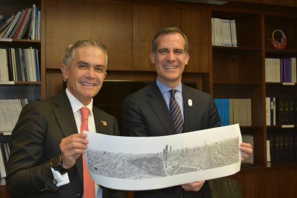 El jefe de gobierno de la Ciudad de México, Miguel Ángel Mancera (i), se reunió con el alcalde de Los Ángeles, Eric Garcetti (d) (Twitter @ManceraMiguelMX)
