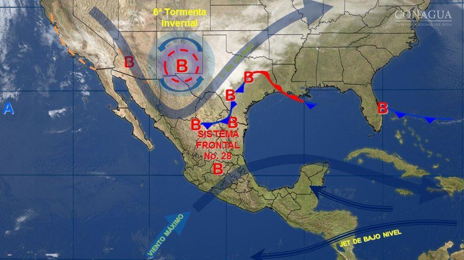 Mapa con el pronóstico del clima para este 14 de febrero; prevén caída de nieve en el norte de México. (SMN)