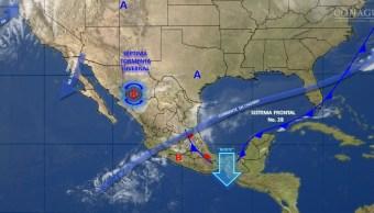 Mapa con el pronóstico del clima para este 16 de febrero; prevén lluvias para gran parte del país. (SMN)