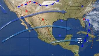 Mapa con el pronóstico del clima para este 23 de febrero; prevén un aumento en las temperaturas. (SMN)