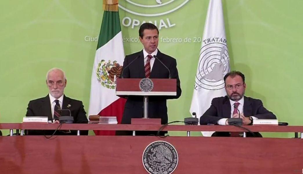 El presidente Peña Nieto la 25 sesión de la Conferencia General de la OPANAL. (Twitter @PresidenciaMX)