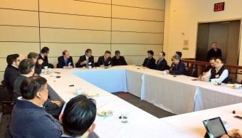 Se reúne Enrique Ochoa Reza con el sector financiero en Nueva York para hablar de México y Estados Unidos. (Twitter @EnriqueOchoaR)