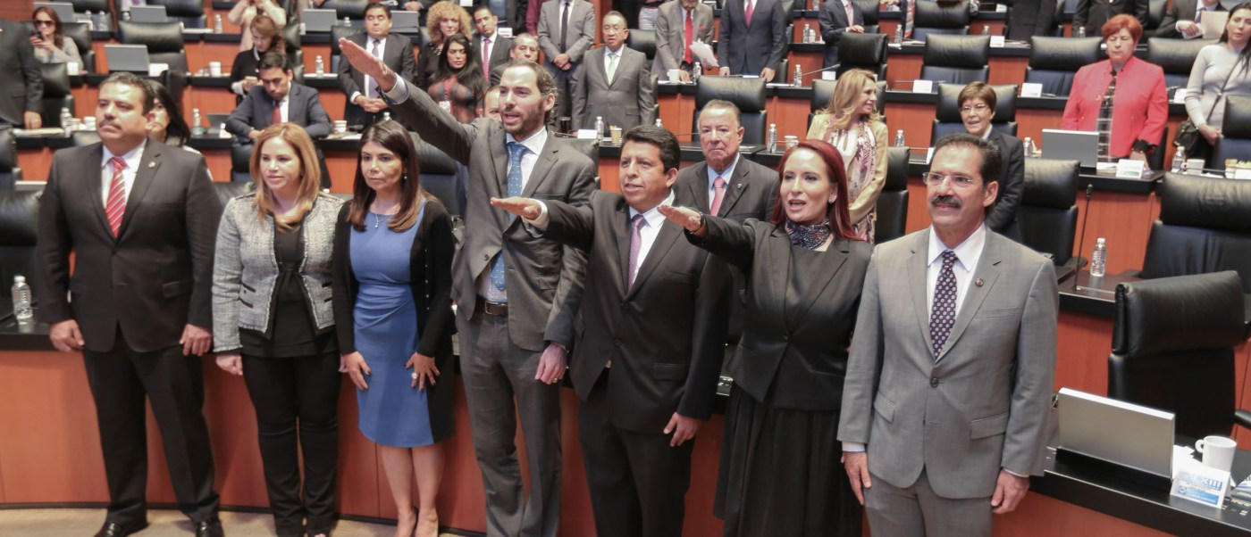 El Senado de la República toma protesta a los nuevos magistrados electorales María del Carreón Castro, Jorge Sánchez Morales y Jorge Emilio Sánchez Cordero Grossmann. (