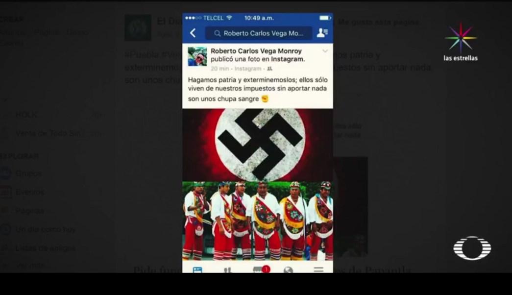 El comentario discriminatorio fue acompañado de una esvástica y una foto de los voladores de Papantla. (Noticieros Televisa)