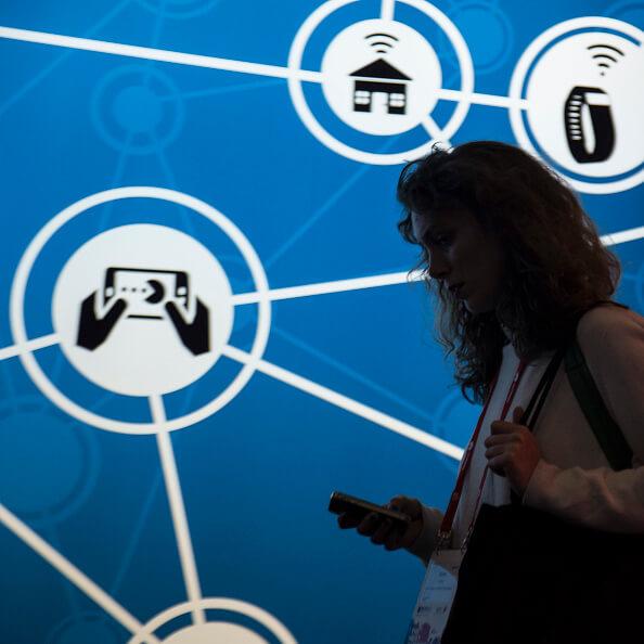 Aspectos del Mobile World Congress en Barcelona. (Getty images, archivo)