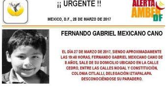 Activan Alerta Amber para localizar a Fernando Gabriel Mexicano Cano, de 8 años, extraviado en Iztapalapa. (PGJCDMX)