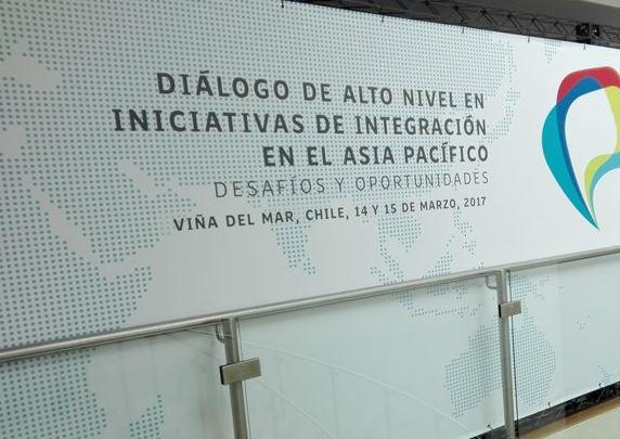 Letrero que anuncia reunión de la Alianza del Pacífico en Chile (Twitter @A_delPacifico)