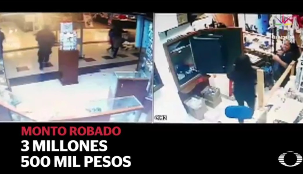 Noticieros Televisa obtuvo las imágenes del asalto a la joyería. (Noticieros Televisa)