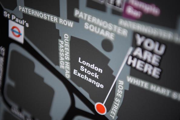 Un mapa muestra la ubicación de la Bolsa de Londres en el Distrito financiero. (Getty Images)