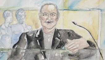 """Un dibujo muestra al venezolano Ilich Ramírez Sánchez conocido como """"Carlos el Chacal"""" durante su juicio en un tribunal de París, Francia (AP)"""