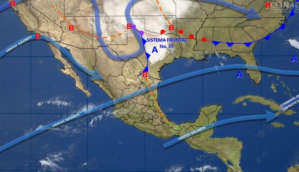 Mapa con el pronóstico del clima para este 29 de marzo; frente frío 37 provoca vientos fuertes en el norte de México. (SMN)