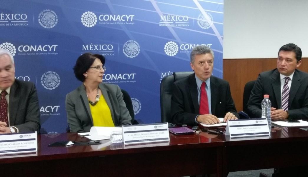 Conferencia de prensa de directivos del Conacyt. (Twitter: @alcanzandohoy )