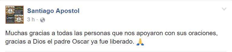 Confirma Diócesis de Tampico liberación de sacerdote secuestrado. (Facebook Santiago Apostol)