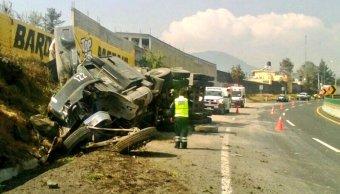 Vuelca transporte de carga en la autopista México-Cuernavaca. (Twitter/@PoliciaFedMx)