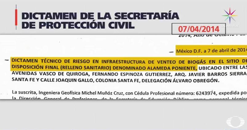 Dictamen de riesgo por acumulación de gas en Santa Fe (Noticieros Televisa)